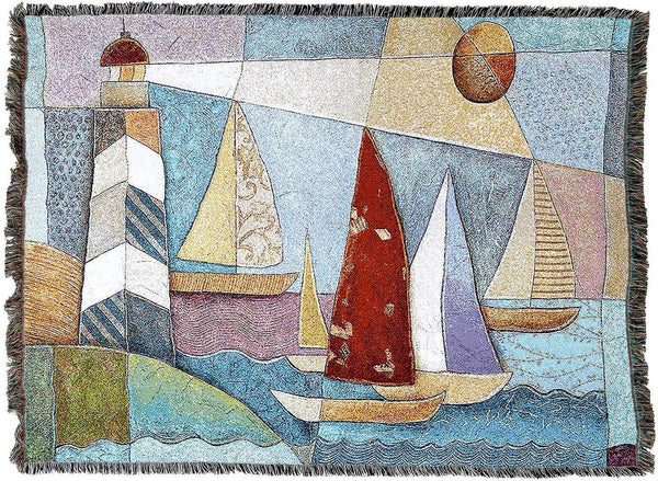 Throw Blanket-Woven Tapestry-Coastal-Bay Regatta