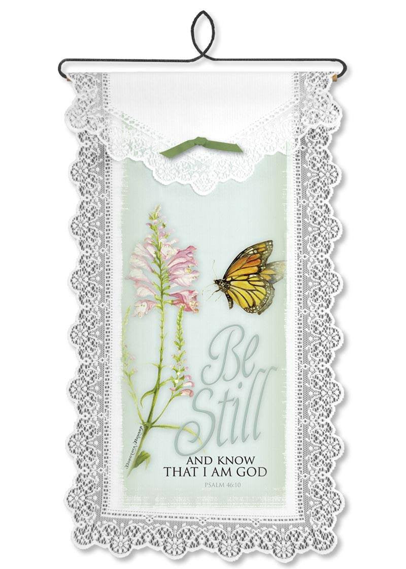 Be Still/Monarch Wall Hanging from Heritage Lace - Expressions of Home