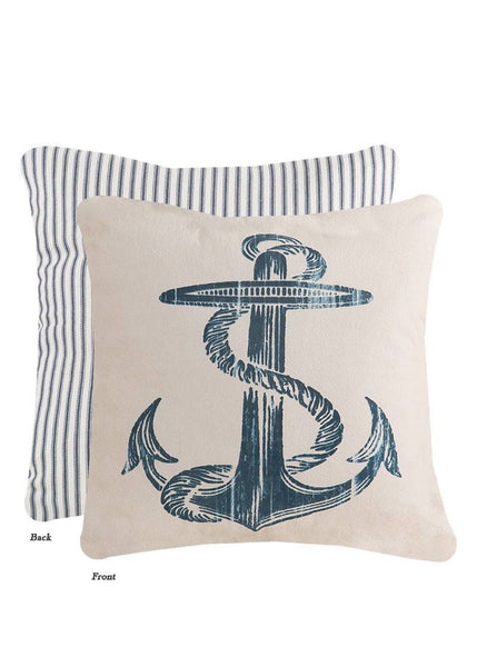 Throw Pillow-Beach Living- 18 x 18 -Anchor Pillow-Heritage Lace