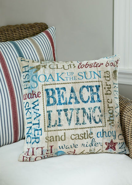 Throw Pillow-Beach Living- 18 x 18-Heritage Lace