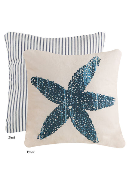 Throw Pillow-Beach Living-18 x 18- Starfish-Heritage Lace