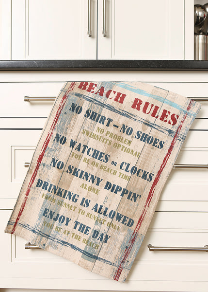 Tea Towels-Set of 2-Beach Rules-Heritage Lace-Retro-Beach Life