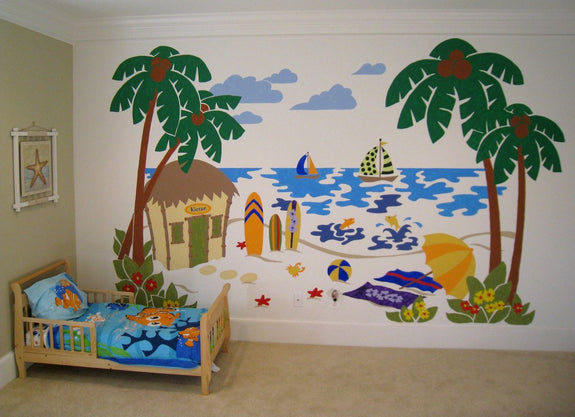 Beach Scene, a DIY Paint by Number Wall Mural by Elephants on the Wall - Seasonal Expressions - 2