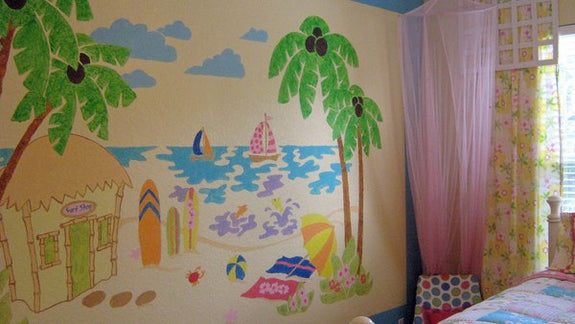 Beach Scene, a DIY Paint by Number Wall Mural by Elephants on the Wall - Expressions of Home