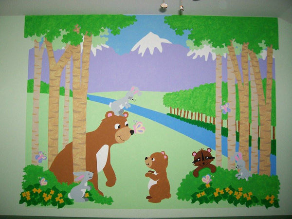 Bears And Butterflies DIY Paint By Number Wall Mural By Elephants On The  Wall   Seasonal