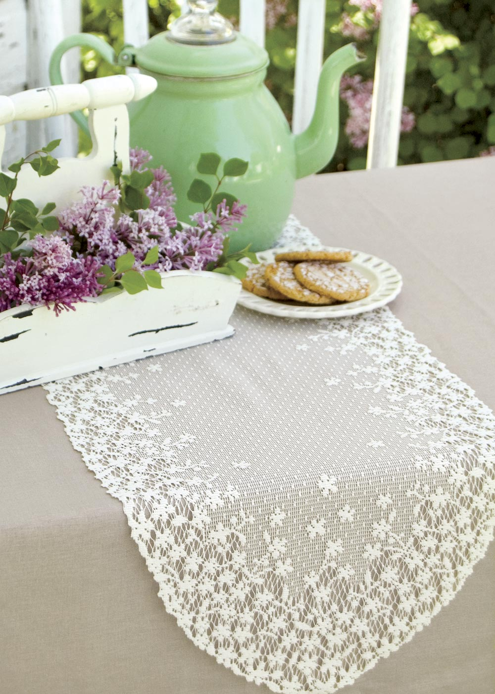 Table Linen-Runner-Dresser Scarf-Set of 2-Heritage Lace-Blossom