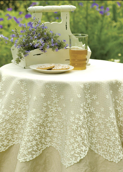 "Table Linen-Tablecloth-42"" Table Topper-Blossom- Ecru- White- Heritage Lace"