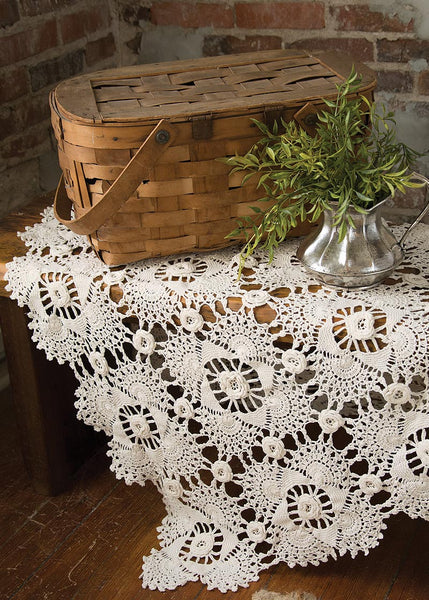 Table Linen-Tablecloth-Table Topper-42x42-Blue Ribbon Crochet-Rosette-Cream-Heritage Lace