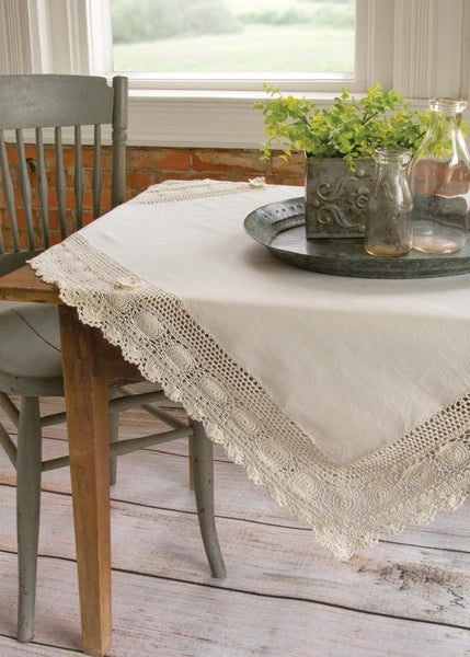 Table Linen-Table Topper-42x42-Blue Ribbon-Hand Crochet-Cream-Heritage Lace