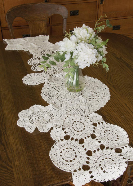 "Table Linen-Table Runner-Dresser Scarf-Set of 2-14"" x 50""-Blue Ribbon Crochet-Heritage Lace"
