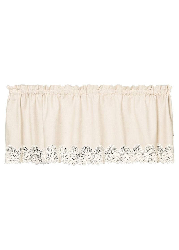 "Valance-54"" x 16""-Blue Ribbon-Crochet-Natural-Heritage Lace"