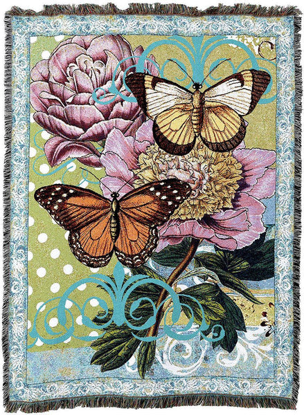 Throw Blanket-54 x 72-Botanical Butterfly