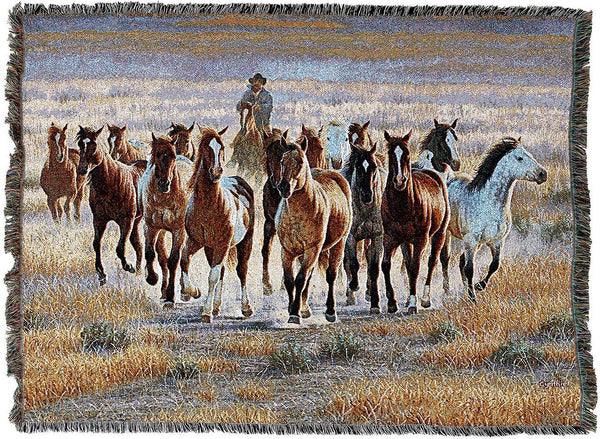 Throw Blanket-54 x 72-Animal Lover-Bringing Them In-Horses