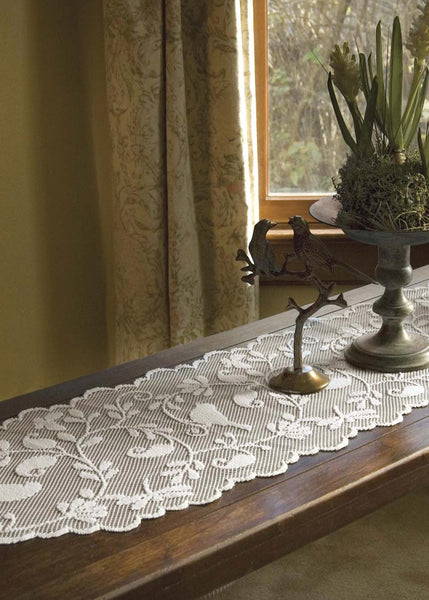 Table Linen-Runner-Dresser Scarf-Set of 2-Bristol Garden-Heritage Lace