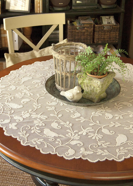 "Table Linen-Tablecloth-Table Topper-45"" Round-Bristol Garden-Heritage Lace"