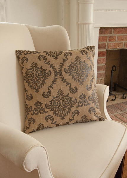 Throw Pillow-18x18-Burlap Damask-Heritage Lace
