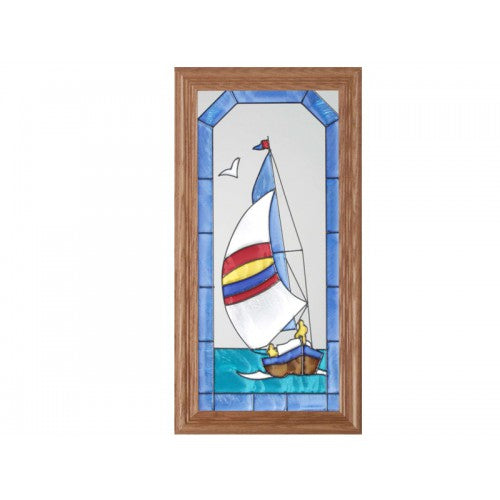 Art Glass Panel-Sailboat-Nautical-Made in USA