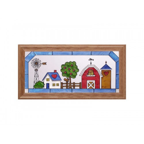 Art Glass Panel-The Farm-The Country Life-Made in USA