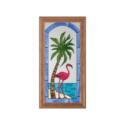Art Glass Panel-Shorebird-Flamingo-Beach Life-Made in USA