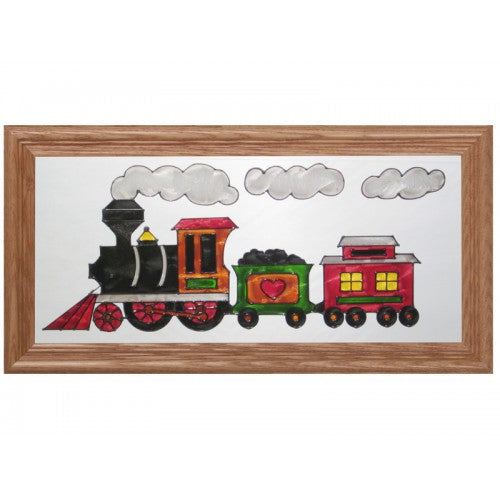 Art Glass Panel-Horizontal-The Train-Babies and Children-Made in USA