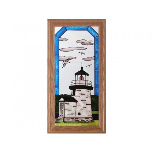 Art Glass Panel-Connecticut Mystic Seaport Lighthouse-Nautical-Made in USA