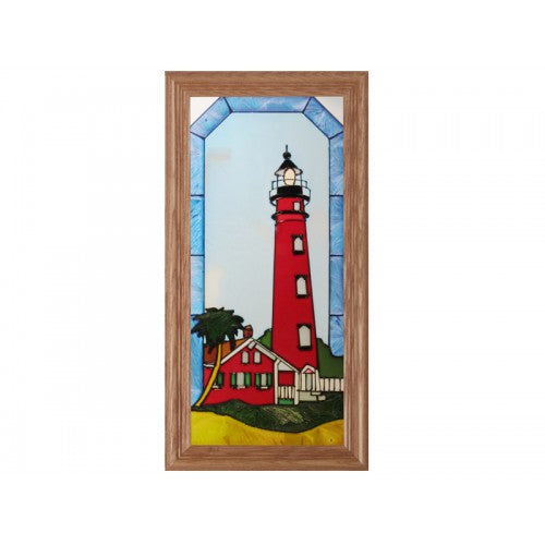 Art Glass Panel-Florida Ponce Inlet Lighthouse-Nautical-Made in USA