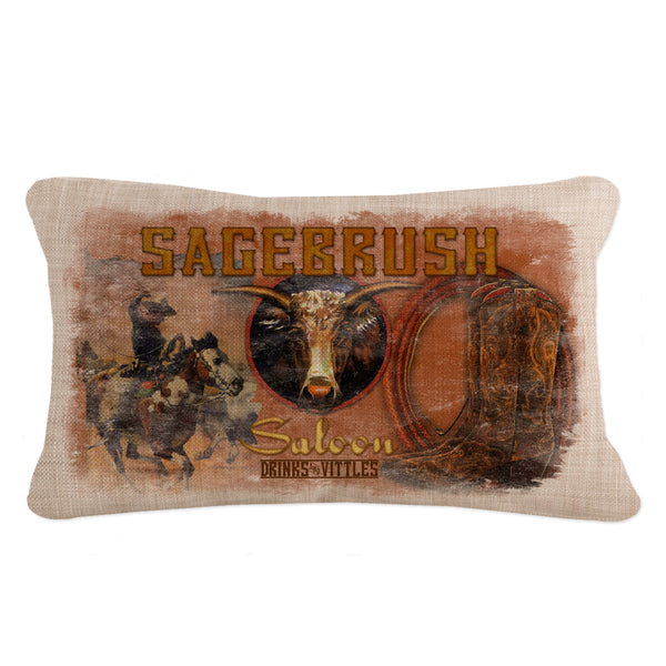 Throw Pillow-12x20-Heritage Lace-Cowboy Country-Sagebrush