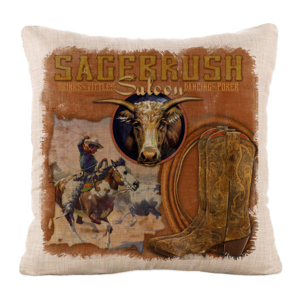 Throw Pillow-18x18-Heritage Lace-Cowboy Country-Sagebrush