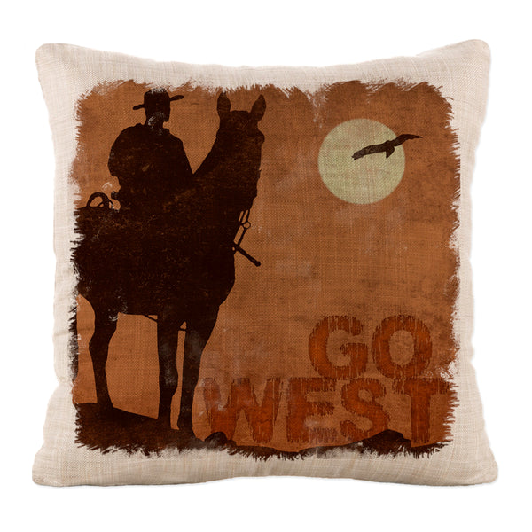 Throw Pillow-18x18-Heritage Lace-Cowboy Country-Go West