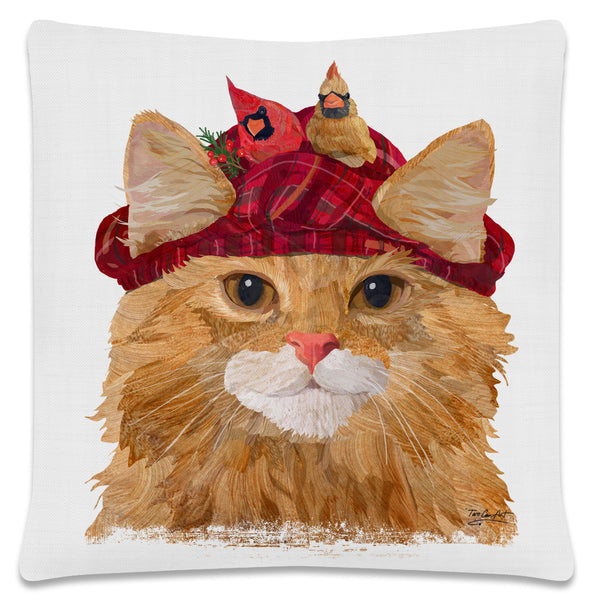 Throw Pillow-18x18-Heritage Lace-Cool Cats-Longhair