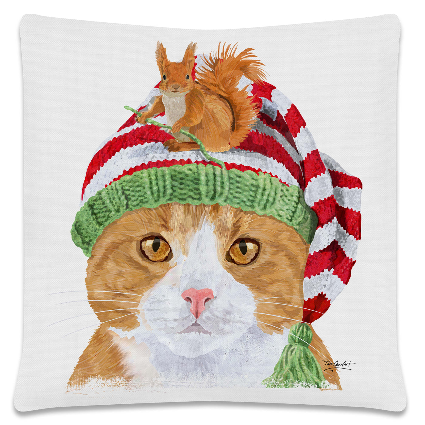 Throw Pillow-18x18-Seasonal-Winter-Heritage Lace-Cool Cats-Shorthair