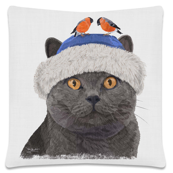 Throw Pillow-18x18-Heritage Lace-Cool Cats-Russian Blue