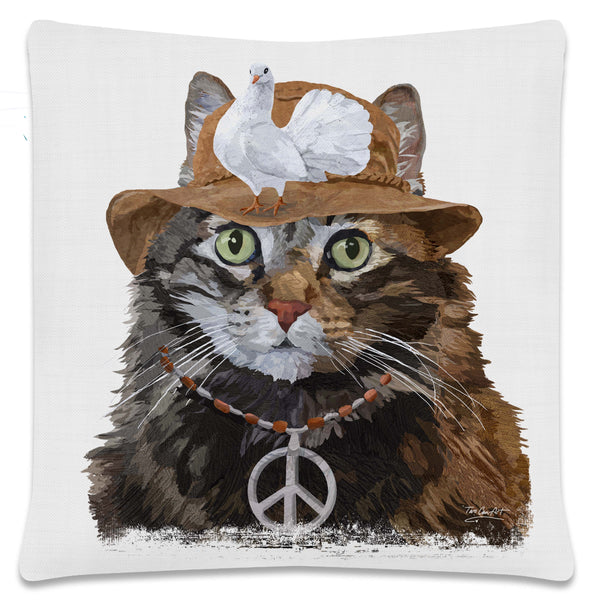 Throw Pillow-18x18-Heritage Lace-Cool Cats-Tortoise Tabby