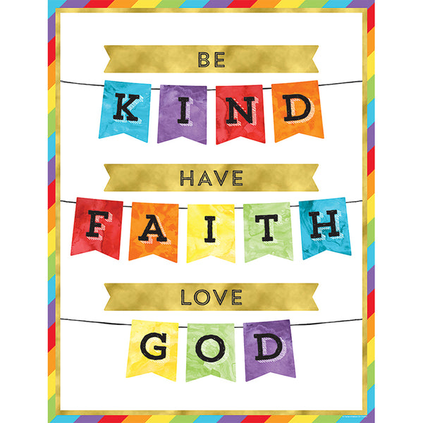 Bulletin Board Chart-Christian-Be Kind-Have Faith-Love God