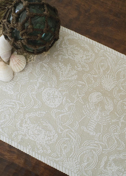 Table Linen-Placemats-Set of 2-14 x 20-Nautical-Crab Damask-Heritage Lace