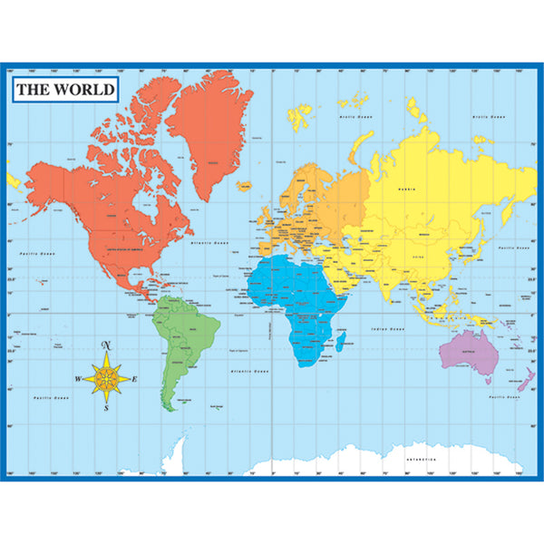 Bulletin Board Chart-Educational-Social Studies-World Map