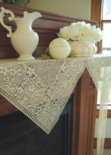 Table Linen-Mantle Scarf-Chantilly-Ecru-Heritage Lace