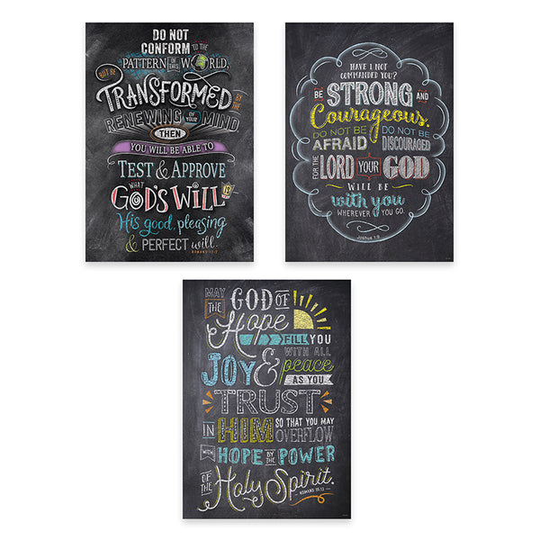 Bulletin Board Charts-Christian-Bible Verses in Chalk-Rejoice-Inspire U-3 Pack