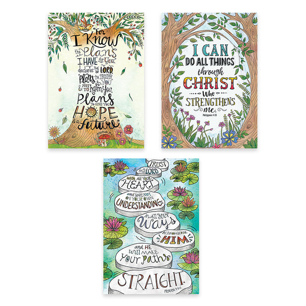 Bulletin Board Charts-Christian-Devotional Bible Verses-Rejoice-Inspire U Posters-3 Pack