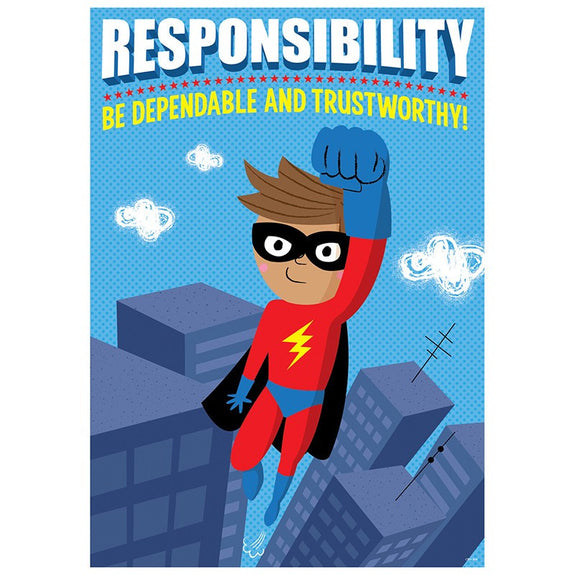 Character Building-Motivational-Responsibility-Superhero-Bulletin Board Chart