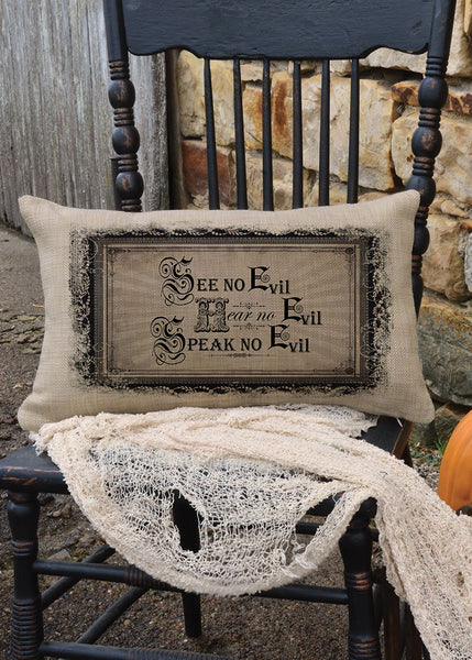 Halloween-Seasonal-12x20-Throw Pillow-Curiosities-See No Evil-Heritage Lace