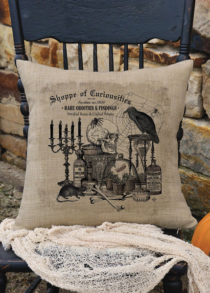 Throw Pillow-18x18-Seasonal-Halloween-Shoppe of Curiosities-Heritage Lace