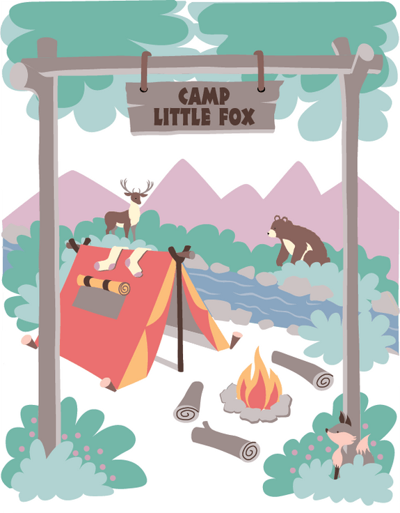 Paint By Number DIY Wall Mural-Camp Little Fox-Elephants on the Wall