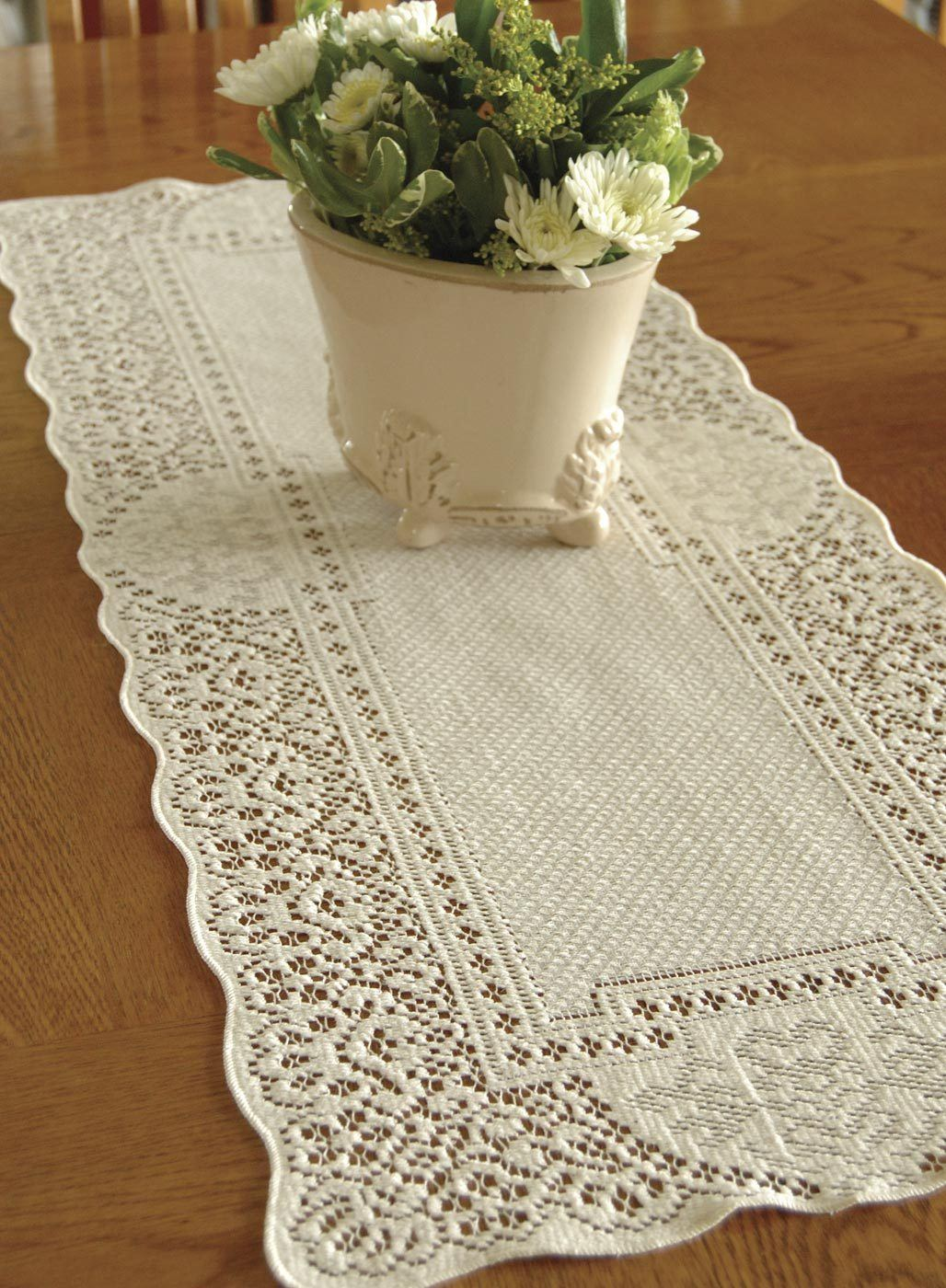 Table Linen-Runner-Dresser Scarf-Set of 2-Canterbury Classic-Heritage Lace