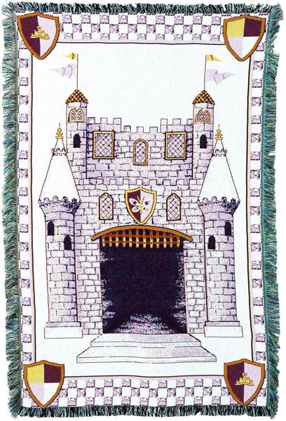 Throw Blanket-35 x 54-Woven Tapestry-Babies-Children-Castle-Pink-Purple