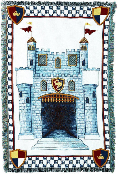 Throw Blanket-35 x 54-Woven-Babies-Children-Castle-Blue