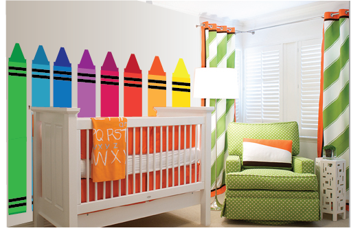 Wall Mural-DIY-Paint by Number-Elephants on the Wall-Colorful Crayons