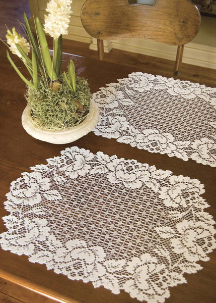 Table Linen-Placemats-Set of 2-Cottage Rose-Heritage Lace