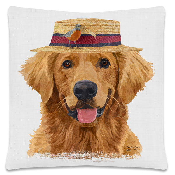 Throw Pillow-18x18-Matching Table Runner-14x54-Heritage Lace-Dapper Dogs-Golden Retriever