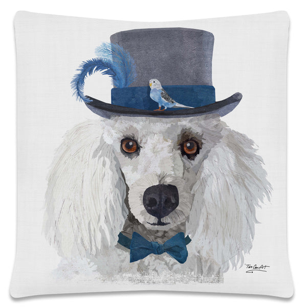 Throw Pillow-18x18-Matching Table Runner-14x54-Heritage Lace-Dapper Dogs-Poodle